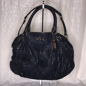 COACH Black Pleated Leather Shoulder Tote